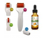 DERMA-CIT® 5-In-1 Derma Roller Skincare Kit Titanium Needles + Vitamin C Serum ( 0.5mm-1.0mm-1.5mm-2.0mm )
